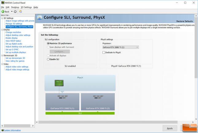 RTX 2080 Ti SLI Enabled - NVIDIA Control Panel