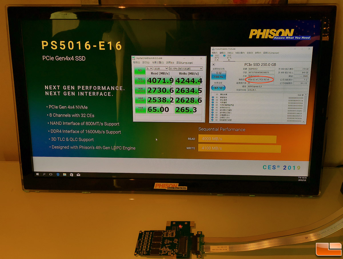 Phison PS5016-E16 PCIe Gen 4 0 x4 Demo at CES 2019 - Legit