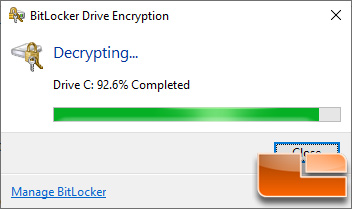 BitLocker Turn Off Decrypt