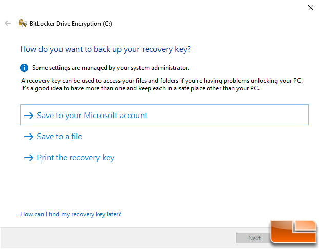 BitLocker Save Backup Key