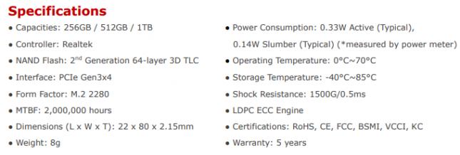 XPG SX6000 PRO Series Specs