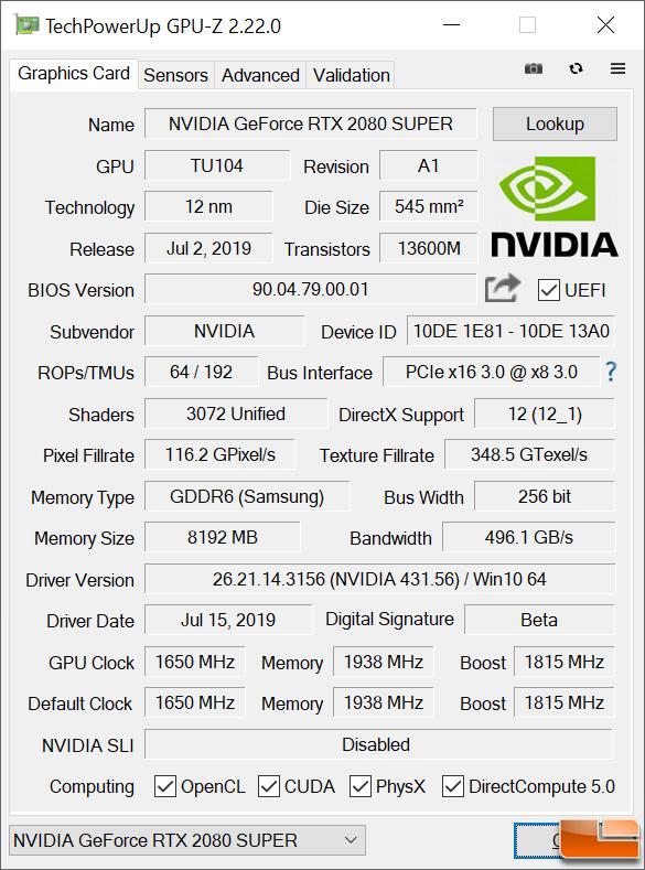 2080 SUPER GPU-Z