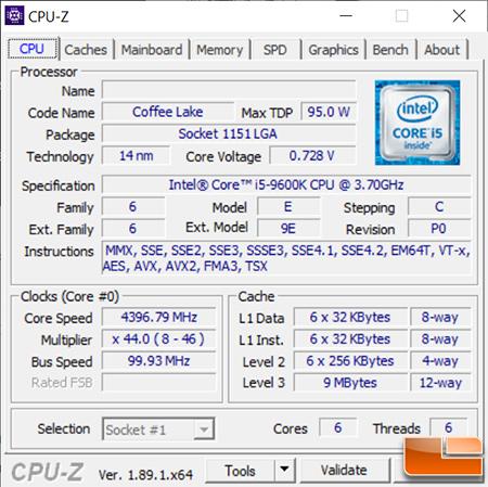 Intel Core i5-9600K CPU-Z