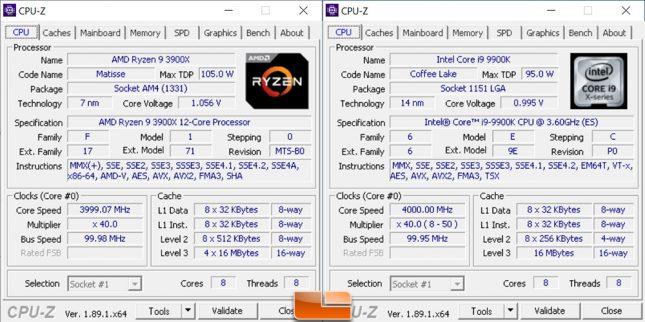 Ryzen 9 3900X versus Core i9-9900K 4.0GHz
