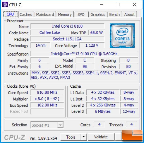 Intel Core i3 9100 CPU-Z