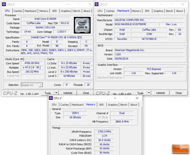 Intel Z390 Test Platform Settings