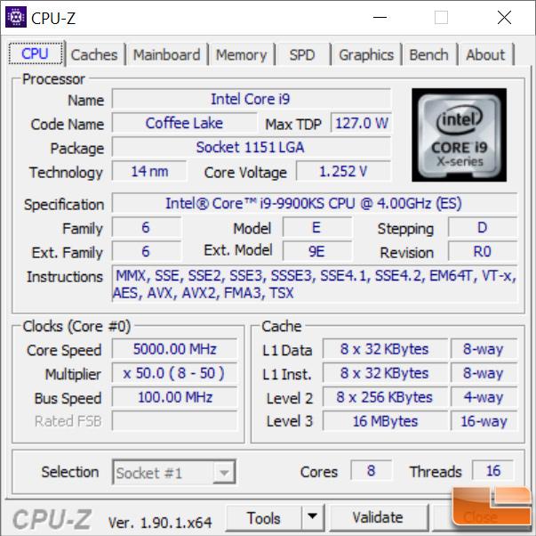 Intel Core i9-9900KS CPU-Z