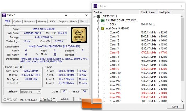 Intel Core i9-10980XE CPU-Z Clocks