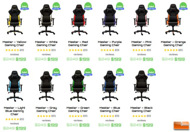OPSeat Master PC Gaming Chair Color Choices