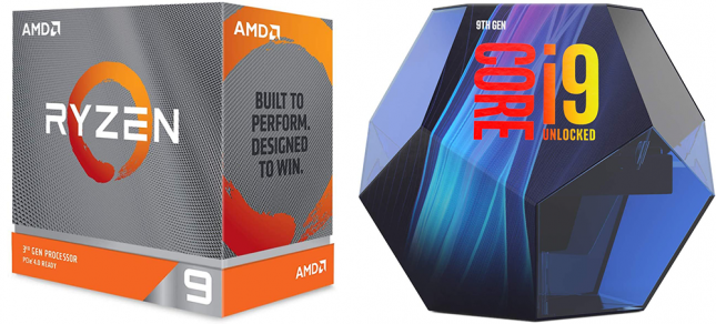 Ryzen 9 3950X and Core i9-9900K Packaging
