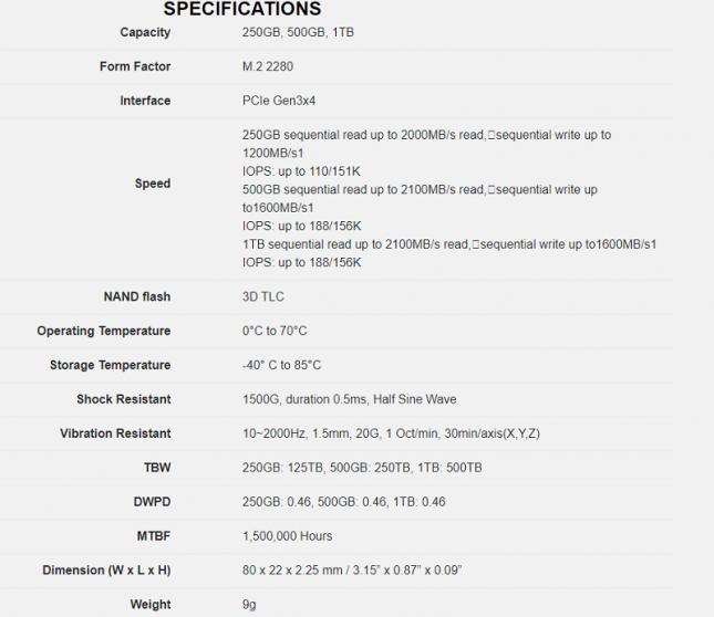 NM610 SSD Specs by Lexar