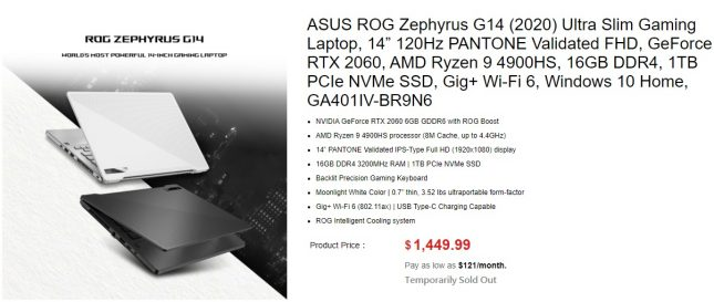 ASUS ROG Zephyrus G14 (2020) Ultra Slim Gaming Laptop