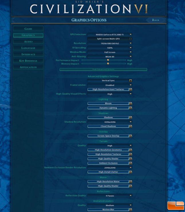 CIV6 1080P Game Settings
