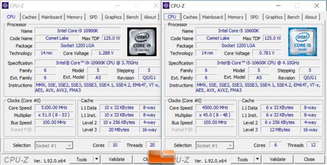 Intel 10900K 10600K CPU-Z