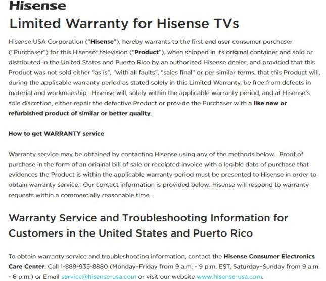 Hisense TV Warranty