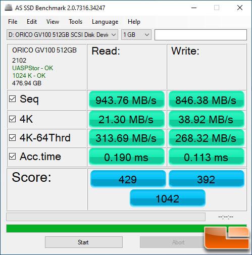 ORICO GV100 AS SSD Benchmark