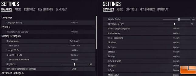 PUBG 1080P Game Settings