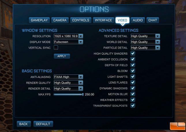 Rocket League 1080P Game Settings