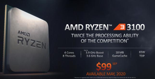 AMD Ryzen 3 3100 CPU Specs