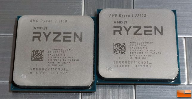 AMD Ryzen 3 3100 and Ryzen 3 3300X Desktop CPUs