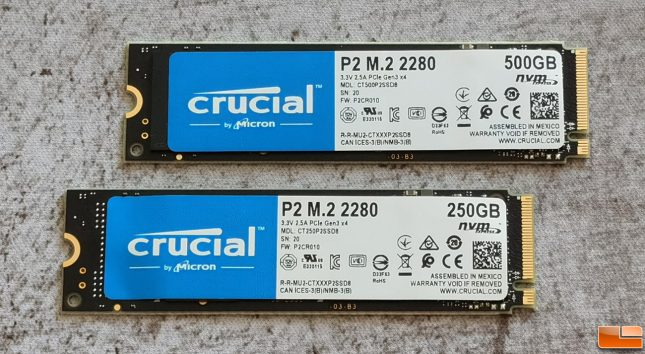 Crucial P2 250GB and 500GB NVMe SSDs