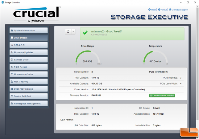 Crucial P5 SSD Storage Executive Toolbox