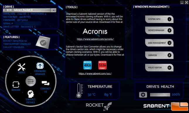Sabrent Rocket Control Panel