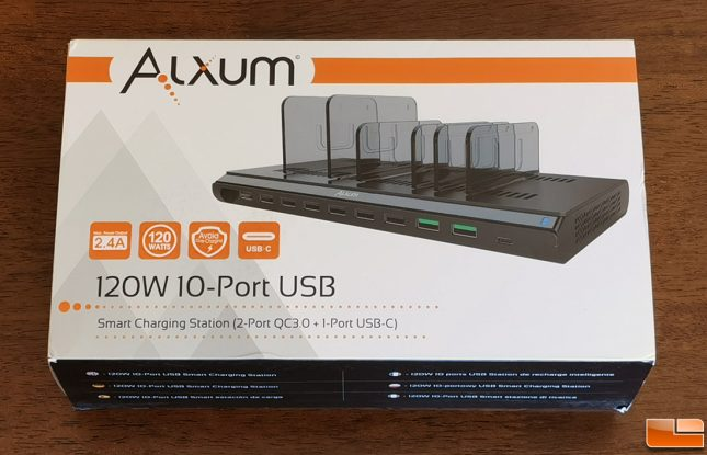 Alxum 120W 10-Port USB Smart Charging Station