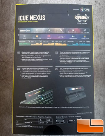 Corsair iCUE Nexus Retail Packaging Rear Back Box