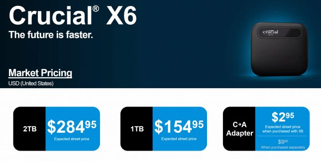 Crucial X6 Pricing