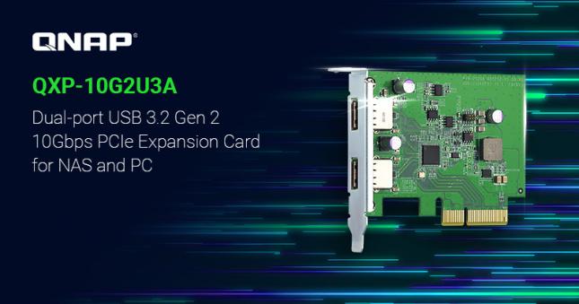 QNAP QXP-10G2U3A USB 3.2 Gen 2 Dual-port PCIe Expansion Card