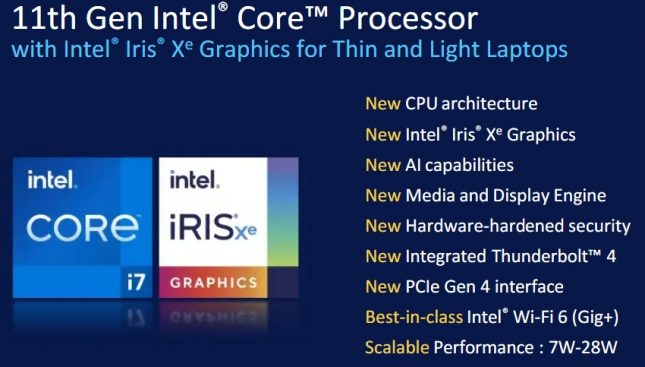 11th Gen Intel Core Processor Highlights
