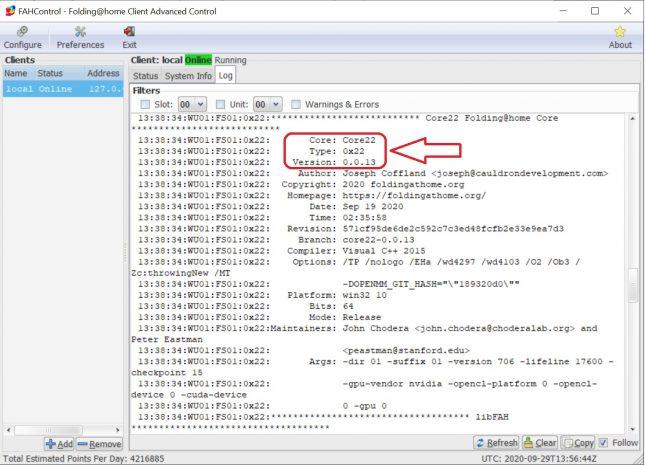 Folding Core 22 CUDA Enabled