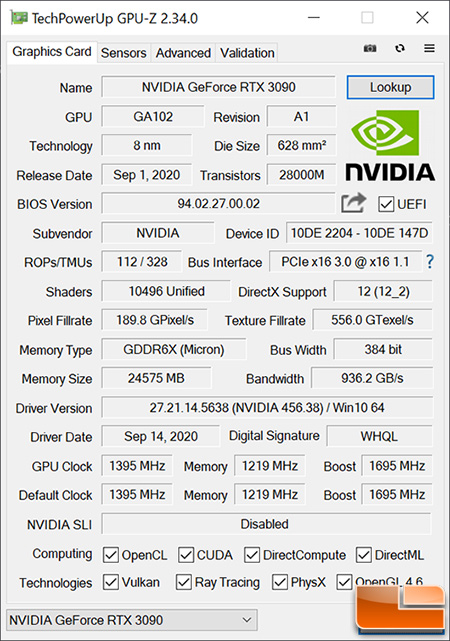 NVIDIA GeForce RTX 3090 GPU-Z
