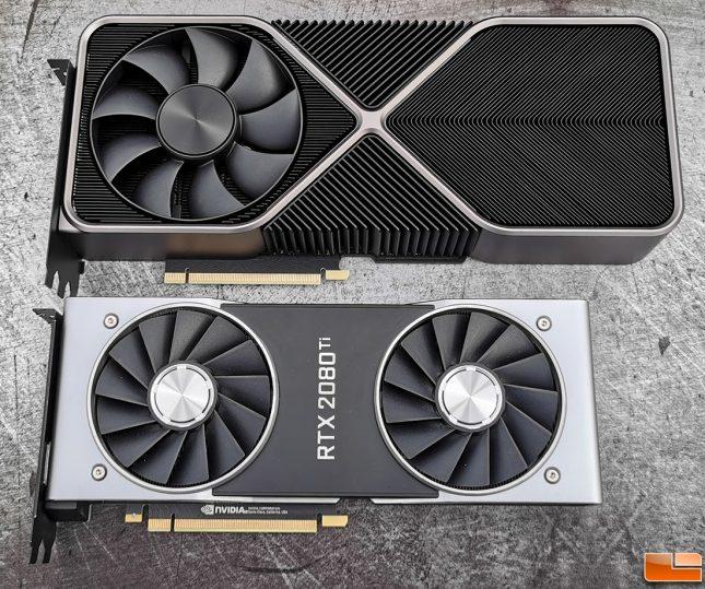 NVIDIA GeForfec RTX 3090 next to GeForce RTX 2080 Ti