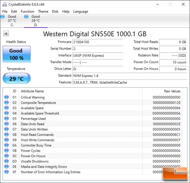 SanDisk Extreme V2 Portable SSD CrystalDiskInfo