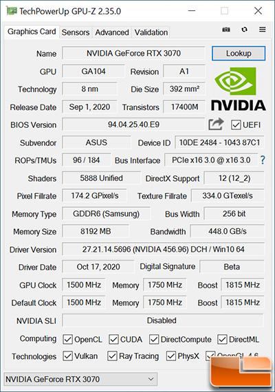 ASUS TUF Gaming RTX 3070 GPU-Z