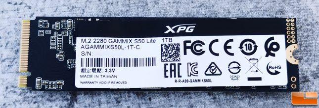 ADATA XPG GAMMIX S50 Lite 1TB SSD Back