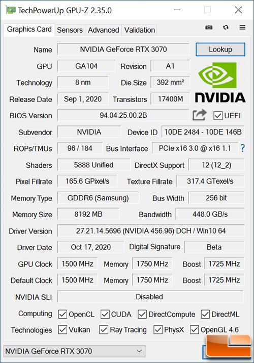 GeForce RTX 3070 Founders GPU-Z