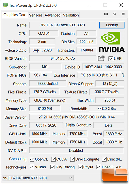 MSI GeForce RTX 3070 GAMING X TRIO 8GB GPU-Z
