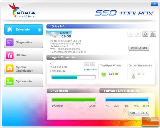 XPG S50 Lite SSD Toolbox