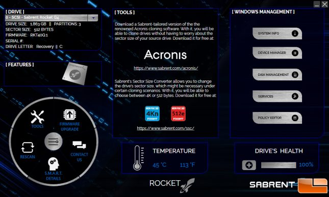 Sabrent Drive Software Toolbox SSD Panel
