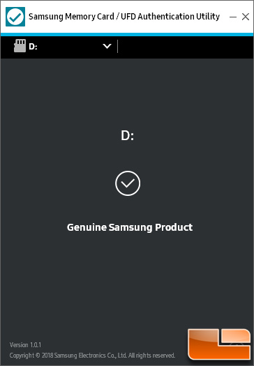 samsung memory card authentication utility