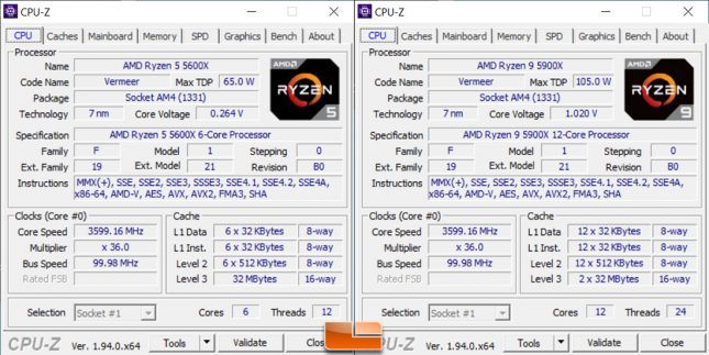 AMD Ryzen 5 5600X and Ryzen 9 5900X CPU-Z