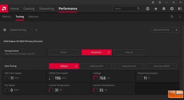 AMD Radeon RX 6800 Performance Tuning Menu