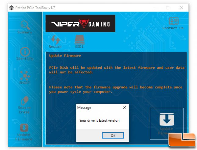 Patriot Viper Gaming Toolbox SSD Firmware Update