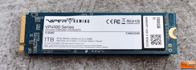 Patriot Viper VP4100 1TB NVMe SSD Back