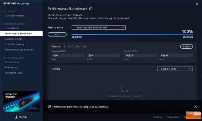 870 EVO - Samsung Magician Software Benchmark