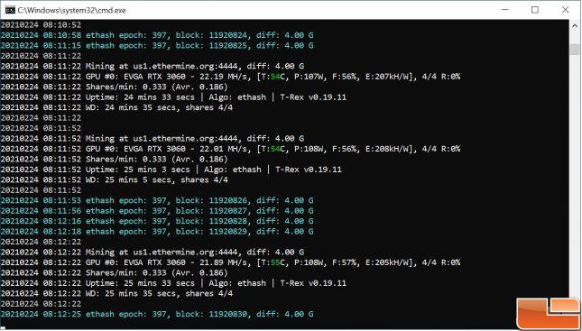 GeForce RTX 3060 ETH Mining Performance on T-Rex