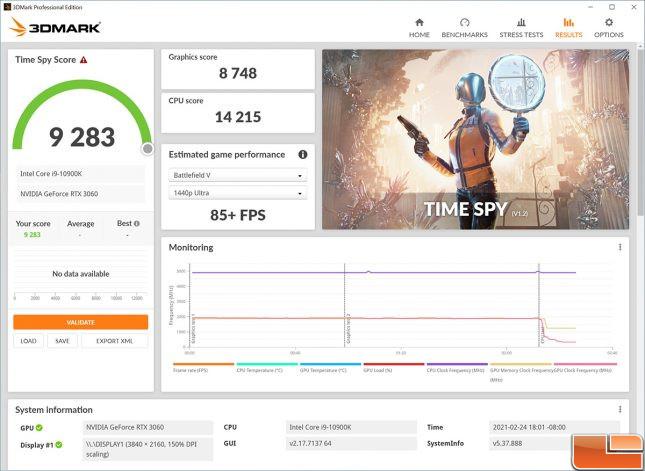 EVGA Precision X1 GeForce 3060 3DMark Time Spy Stock